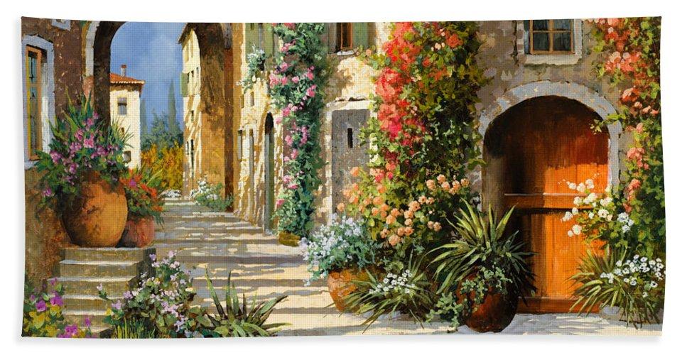 Landscape Bath Towel featuring the painting La Porta Rossa Sulla Salita by Guido Borelli