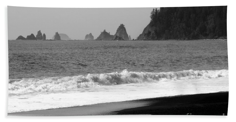 La Push Beach Hand Towel featuring the photograph La Push Beach Black And White by Carol Groenen