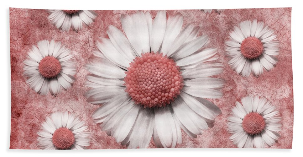 Marguerites Digital Art Hand Towel featuring the digital art La Ronde Des Marguerites - Pink 02 by Variance Collections