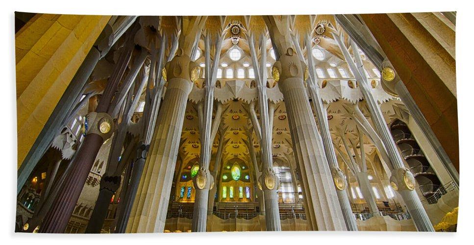 Spain Bath Sheet featuring the photograph La Sagrada Familia Iv by Jack Daulton