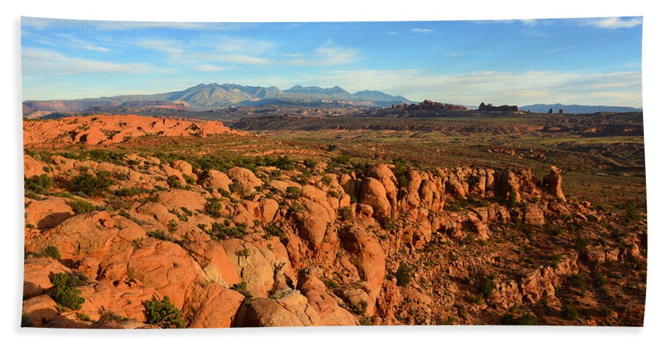 La Sal Mountains Hand Towel featuring the photograph La Sal Landscape Work C by David Lee Thompson