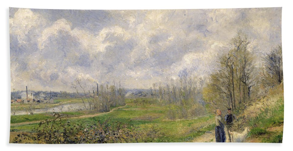 Path Bath Sheet featuring the painting La Sente Du Chou Near Pontoise by Camille Pissarro