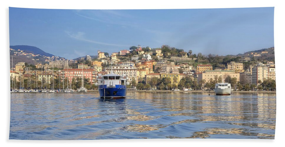 La Spezia Bath Sheet featuring the photograph La Spezia by Joana Kruse