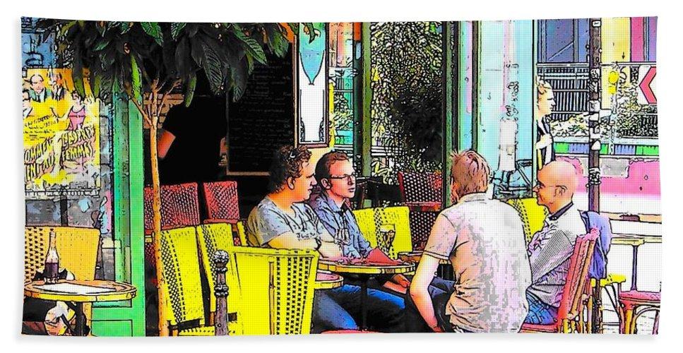 Paris Bath Sheet featuring the photograph La Station Rambuteau Wine Drinkers by Jan Matson