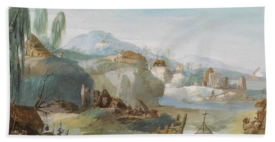 Giuseppe Bernardino Bison Bath Sheet featuring the painting La Tebaide by Giuseppe Bernardino Bison