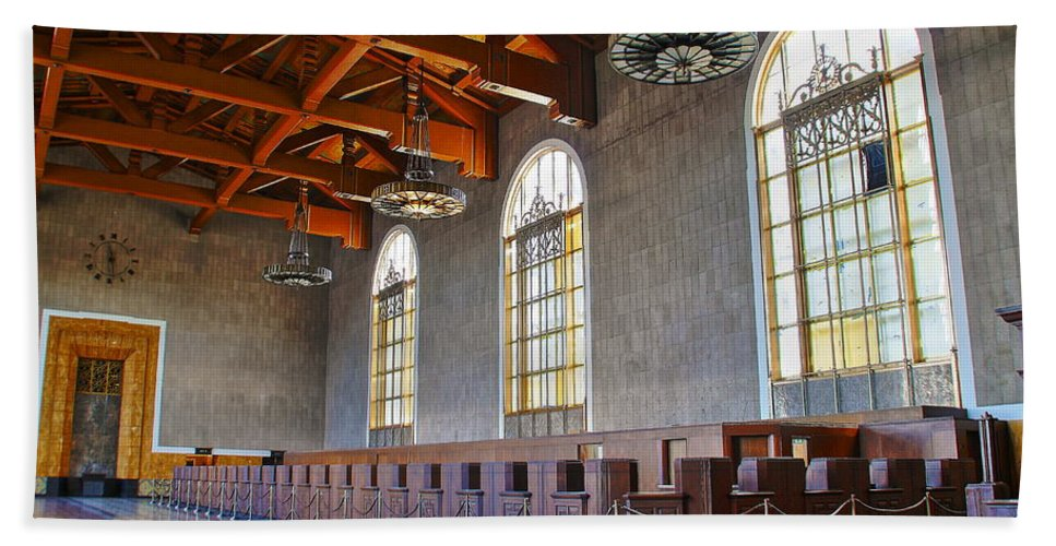 Los Angeles Union Station Hand Towel featuring the photograph Los Angeles Union Station At Its 75th Anniversary by Richard Cheski