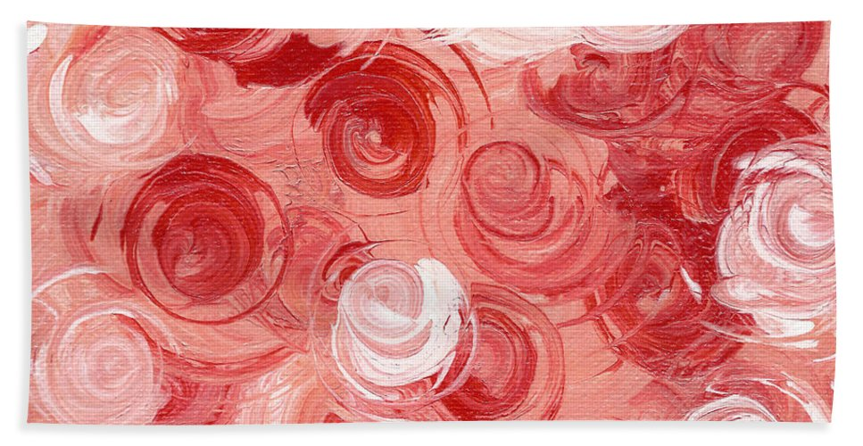 Edith Piaf Hand Towel featuring the painting La Vie En Rose by Alys Caviness-Gober