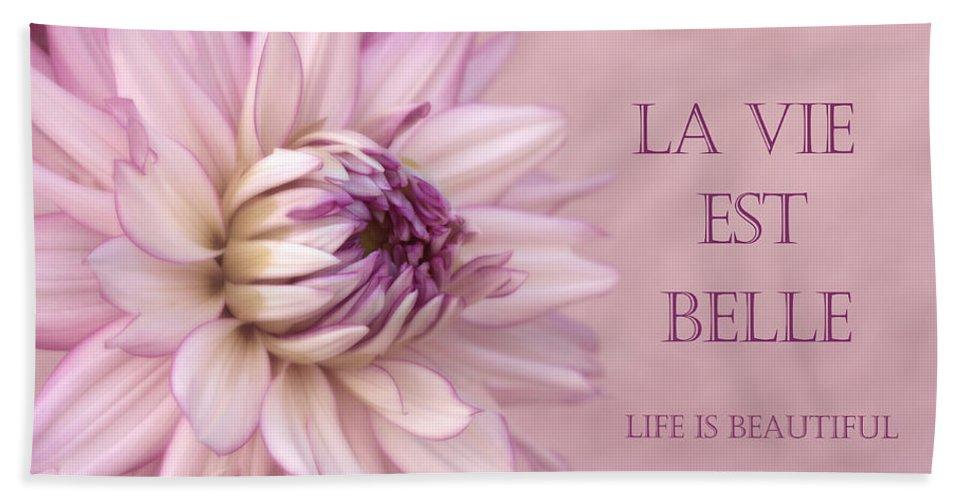 Purple Dahlia Hand Towel featuring the photograph La Vie Est Belle by Kim Hojnacki