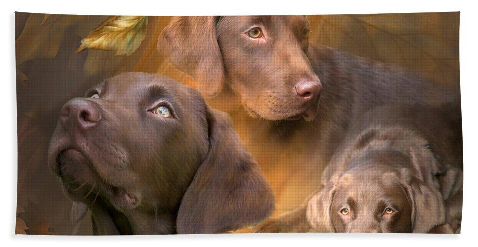 Labrador Retriever Bath Sheet featuring the mixed media Lab In Autumn by Carol Cavalaris