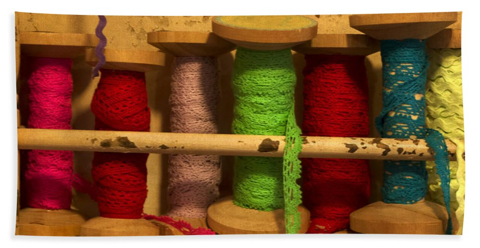 Lace Hand Towel featuring the photograph Lace Bobbins by Gillian Singleton