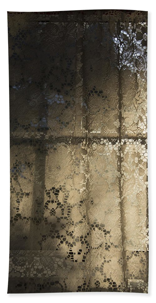 Lace Curtain Hand Towel featuring the photograph Lace Curtain 1 by Jocelyn Friis