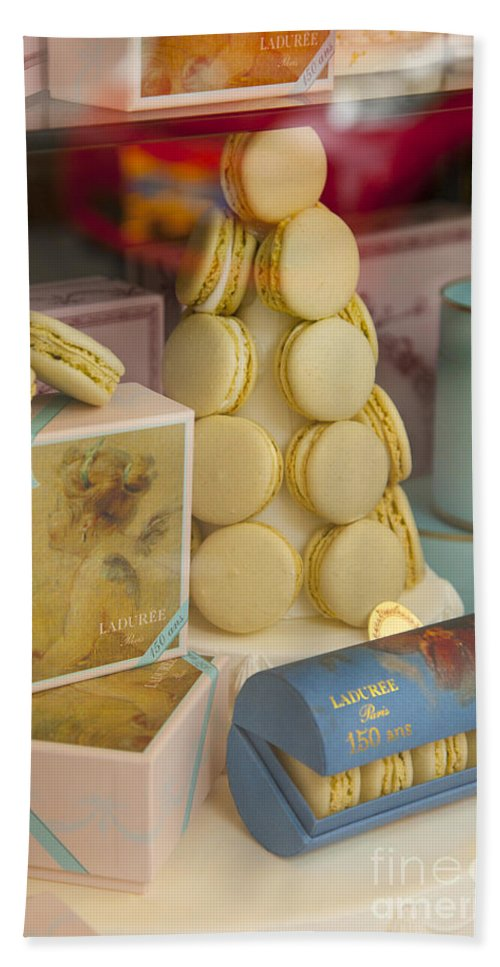 Bakery Hand Towel featuring the photograph Laduree Macarons by Brian Jannsen