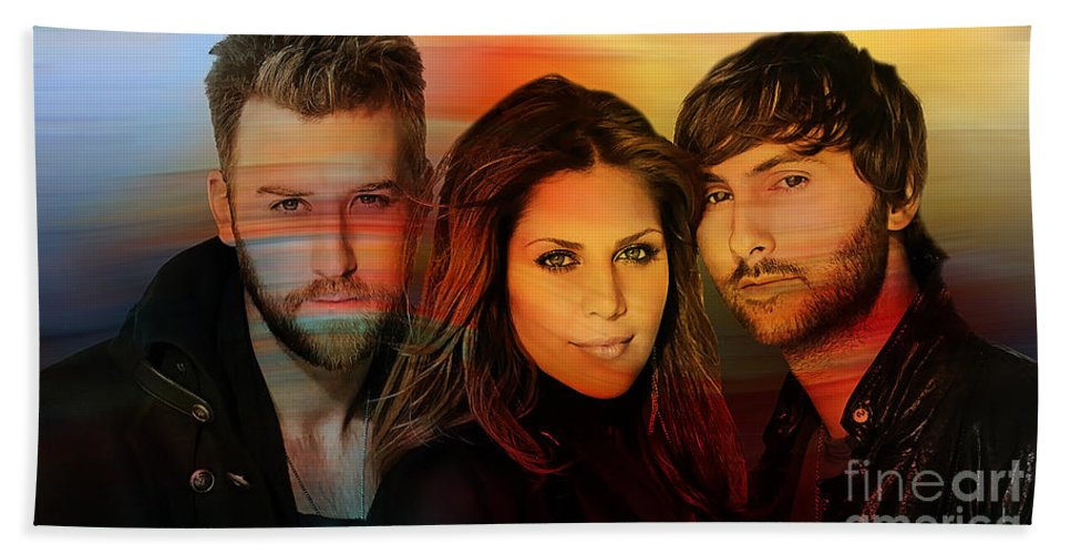 Lady Antebellum Photographs Hand Towel featuring the mixed media Lady Antebellum by Marvin Blaine