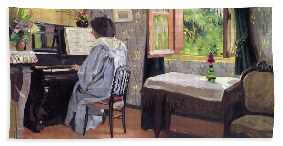 Interior Hand Towel featuring the painting Lady At The Piano by Felix Edouard Vallotton