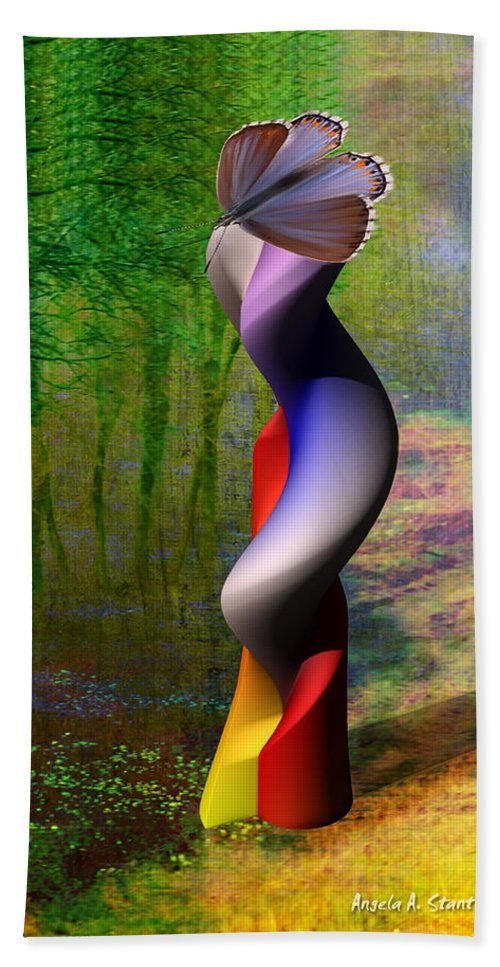 3d Hand Towel featuring the painting Lady At The Pond With Butterfly by Angela Stanton