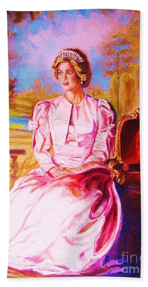 Princess Diana Bath Sheet featuring the painting Lady Diana Our Princess by Carole Spandau