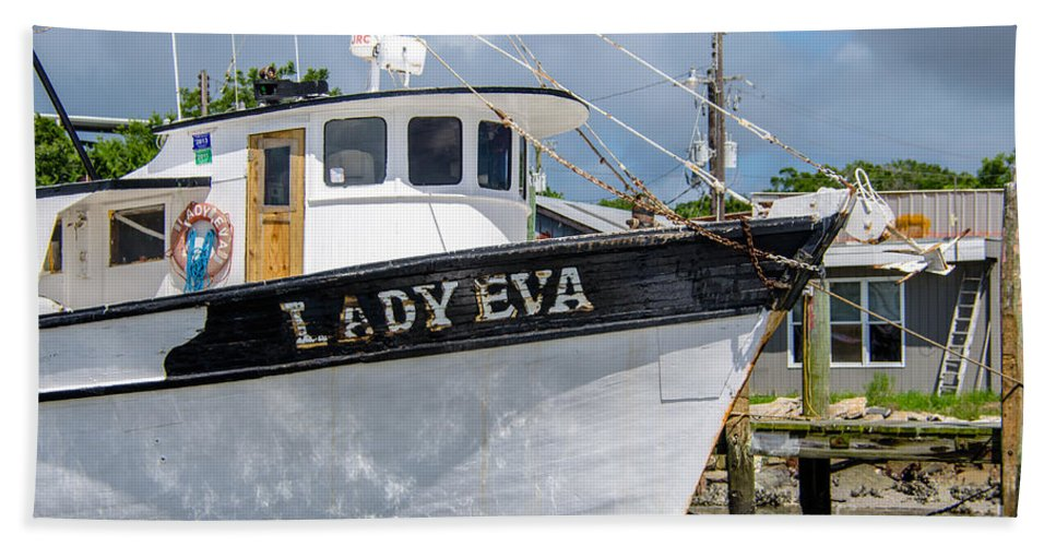 Lady Eva Hand Towel featuring the photograph Lady Eva Shrimp Boat by Dale Powell