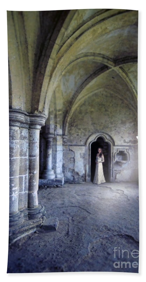 Woman Hand Towel featuring the photograph Lady In Abbey Room With Doves by Jill Battaglia
