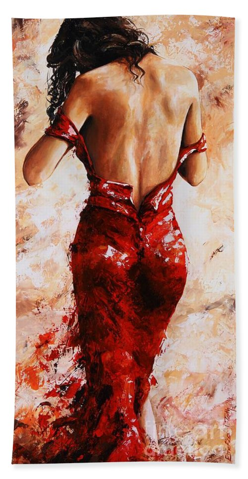 Nude Hand Towel featuring the painting Lady In Red #24 Large by Emerico Imre Toth