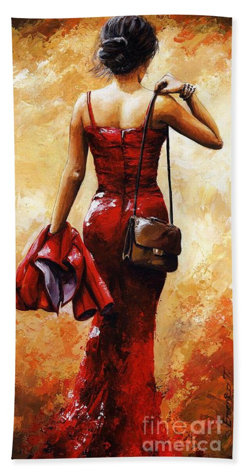 Lady Bath Sheet featuring the painting Lady In Red #25 by Emerico Imre Toth