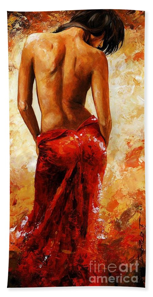 Nude Bath Towel featuring the painting Lady in red 27 by Emerico Imre Toth