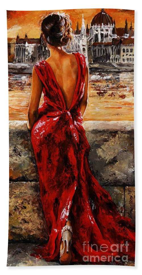 Lady Bath Towel featuring the painting Lady in red 34 - I love Budapest by Emerico Imre Toth