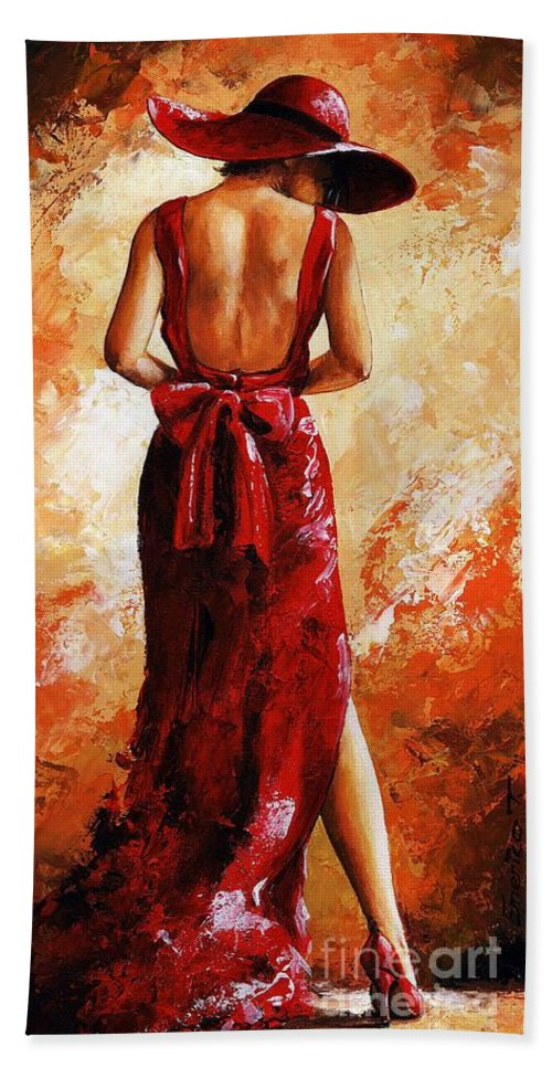 Lady Hand Towel featuring the painting Lady In Red 39 by Emerico Imre Toth