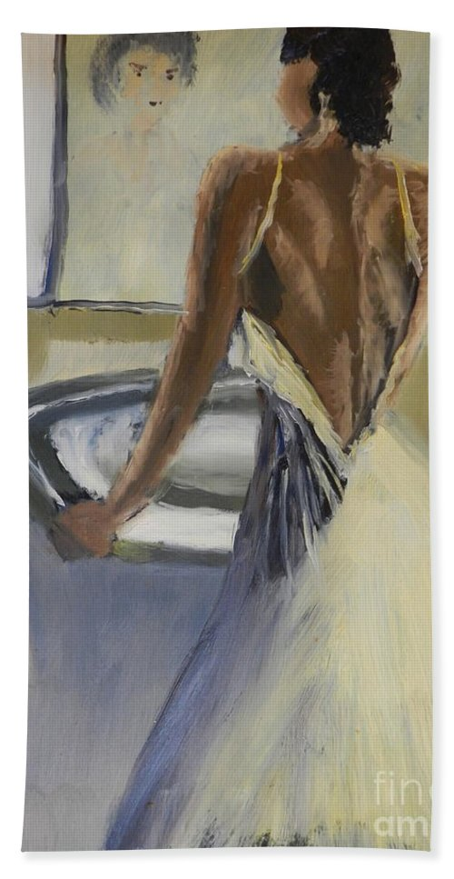 Impressionism Hand Towel featuring the painting Lady In The Mirror by Pamela Meredith
