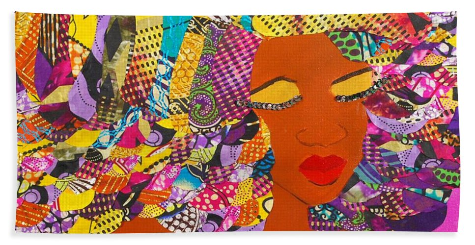 Afro Art Bath Sheet featuring the tapestry - textile Lady J by Apanaki Temitayo M