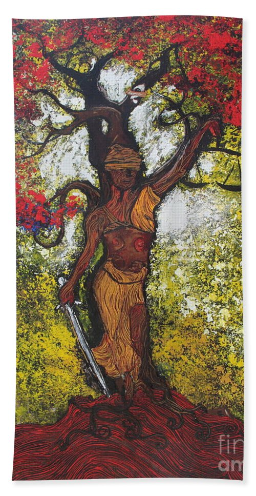 Trees Bath Sheet featuring the painting Lady Of Justice by Stefan Duncan
