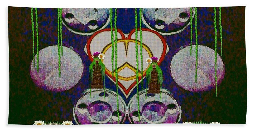 Heart Bath Sheet featuring the mixed media Lady Panda Welcomes Spring In Love And Light And Peace by Pepita Selles