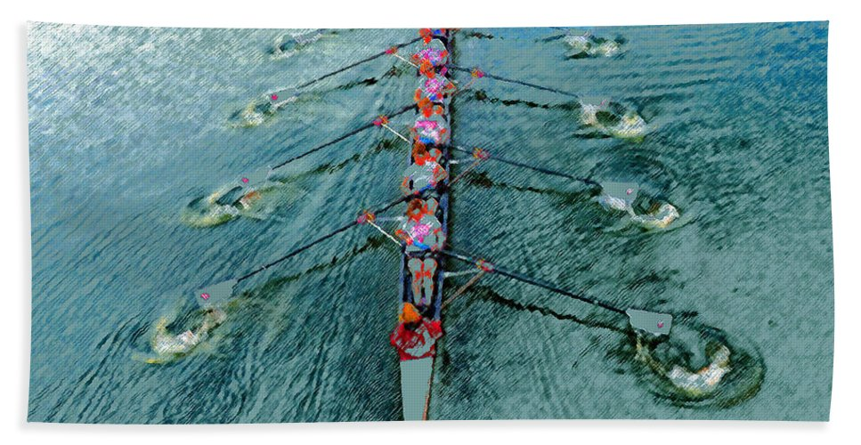 Art Hand Towel featuring the painting Lady Scullers by David Lee Thompson