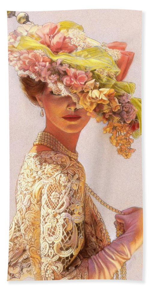 Portrait Bath Towel featuring the painting Lady Victoria Victorian Elegance by Sue Halstenberg