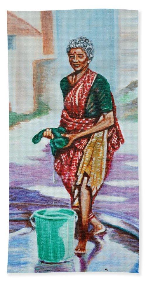 Lady Bath Towel featuring the painting Lady Washing Clothes by Usha Shantharam