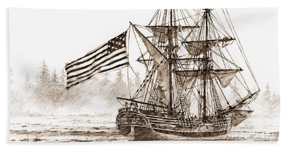 Lady Washington Drawing Hand Towel featuring the drawing Lady Washington At Friendly Cove Sepia by James Williamson