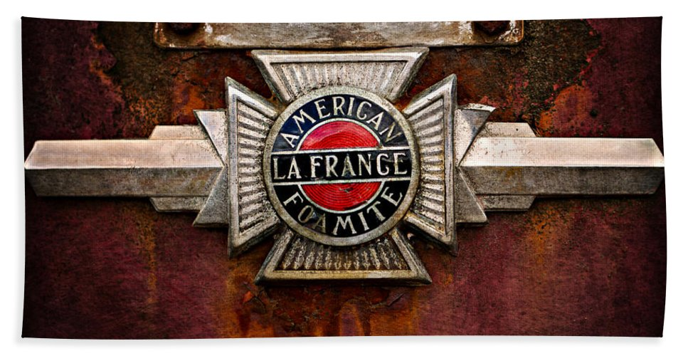 Fire Truck Bath Sheet featuring the photograph Lafrance Badge by Mary Jo Allen