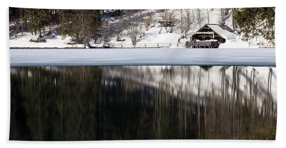 Lake Hand Towel featuring the photograph Laghi Di Fusine by Alfio Finocchiaro