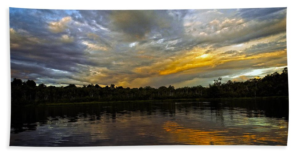 Sunset Hand Towel featuring the photograph Lagoon Sunset In The Jungle by Kurt Van Wagner