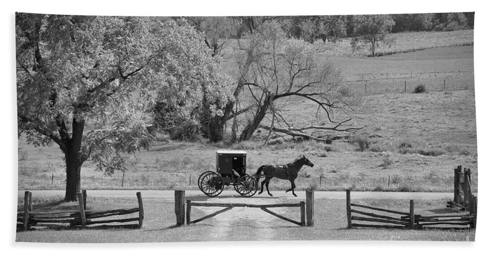 Amish Hand Towel featuring the photograph Lagrange Bw by David Arment
