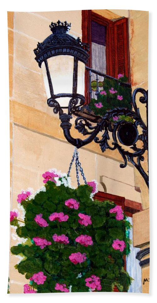 Street Lamp Hand Towel featuring the painting Laguardia Street Lamp by Mike Robles