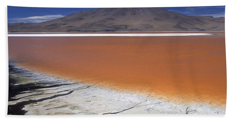 Altiplano Bath Sheet featuring the photograph Laguna Colorada, Altiplano Bolivia by Peter McBride