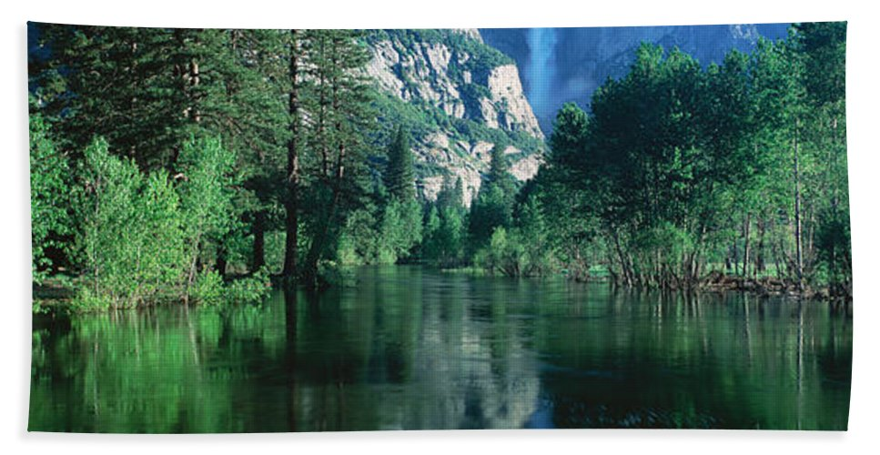Photography Hand Towel featuring the photograph Lake And Trees, California by Panoramic Images