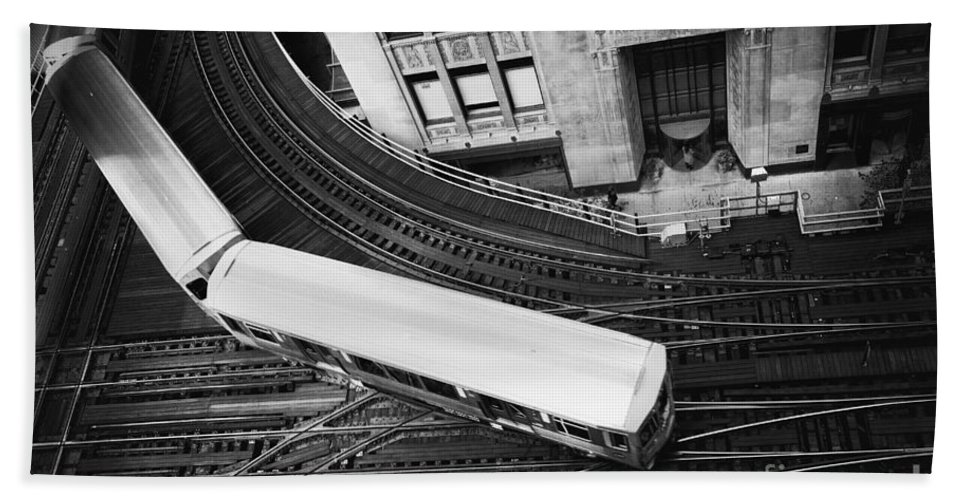 Chicago; Illinois; United States; America; United States Of America; Usa; Us; Lake Michigan; Lake Street; Wells Street; Windy City; City; Building; Architecture; View; El; Train; Subway; Train Tracks; Tracks; Turn; Bend; Top; Commute; Elevated; Loop Hand Towel featuring the photograph Lake And Wells by Margie Hurwich