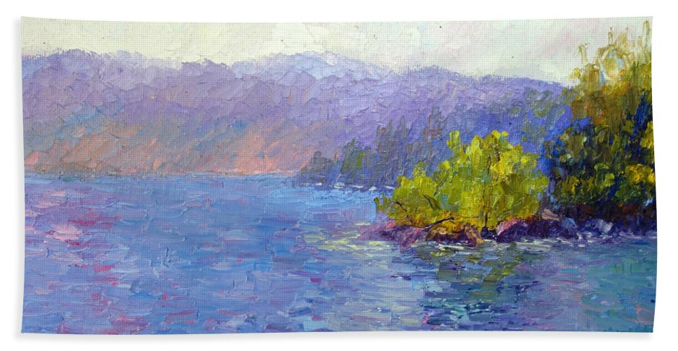 Lake Arrowhead Hand Towel featuring the painting Lake Arrowhead by Terry Chacon