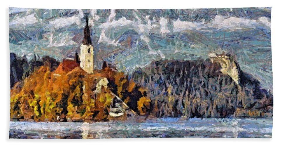 Rural Scenes Bath Sheet featuring the painting Lake Bled And Mountains by Dragica Micki Fortuna