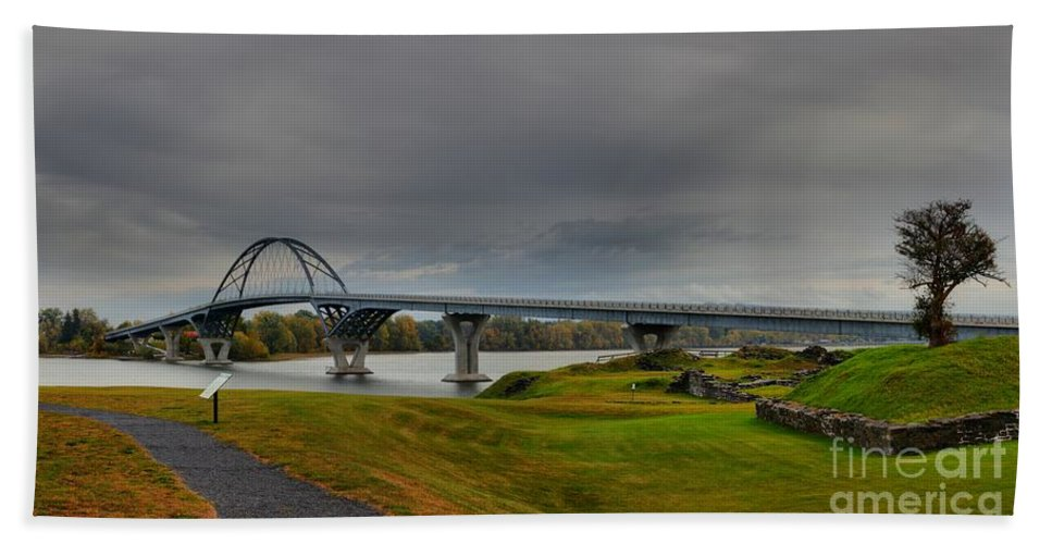 Crown Point New York Bath Sheet featuring the photograph Lake Champlain Bridge Panorama From Crown Point by Adam Jewell