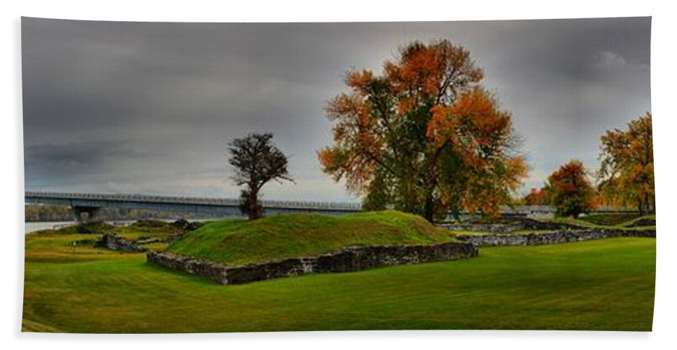Crown Point Bath Sheet featuring the photograph Lake Champlain Crown Point Panorama by Adam Jewell
