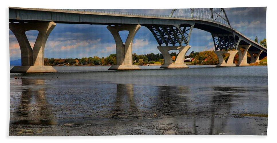 Lake Champlain Bridge Bath Sheet featuring the photograph Lake Champlain Tied Arch Bridge by Adam Jewell