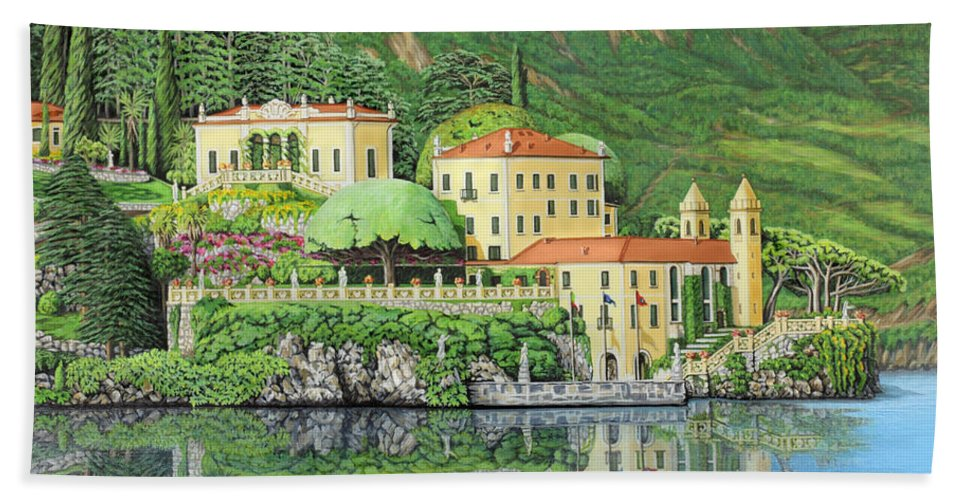 Lake Hand Towel featuring the painting Lake Como Morning by Jane Girardot