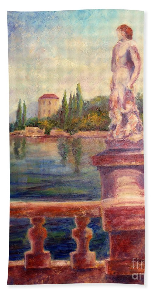 Varenna Bath Sheet featuring the painting Lake Como View by Carolyn Jarvis